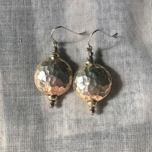 Jewelry - Hammered Silver Metal Drop Earrings